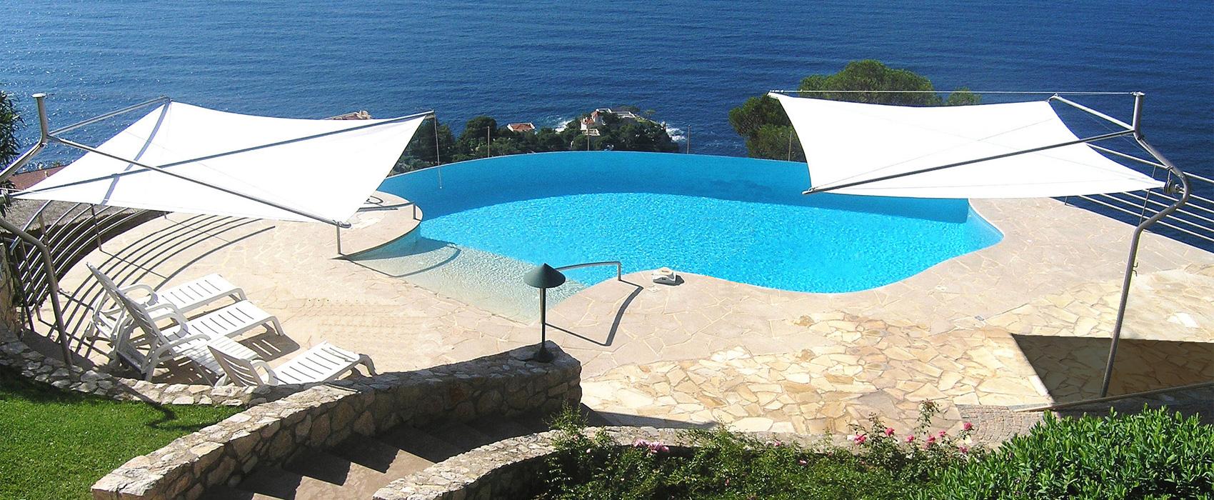 vele tende da sole con piscina